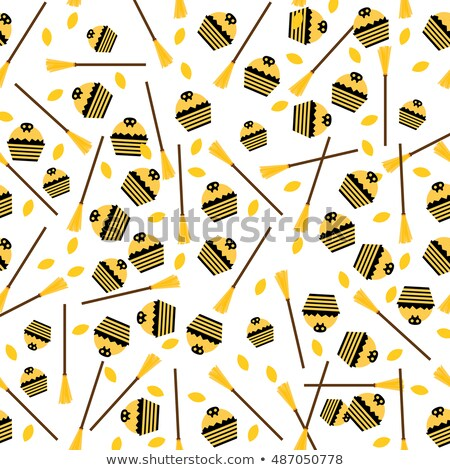 Seamless Pattern with Cake, Leaves and Broom.  Stock photo © ShustrikS