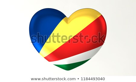 National flag of the Seychelles in the shape of a heart and the inscription I love Seychelles. Vecto Stock photo © butenkow