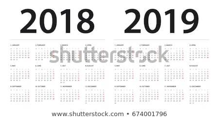 Simple calendar on august 2019 year with week starting from monday isolated on white Stock photo © evgeny89