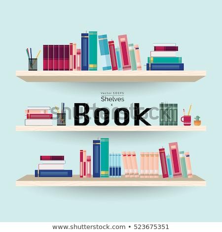 Prateleira de livros livros canetas lápis muitos Foto stock © robuart
