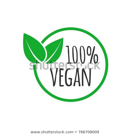Vegan amigável folhas etiqueta verde cor Foto stock © SArts