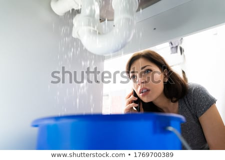 Women Doing Emergency Plumber Phone Call In Kitchen Stock photo © AndreyPopov