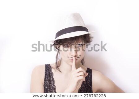 Bigote dedo mujer superior vista Foto stock © Kakigori