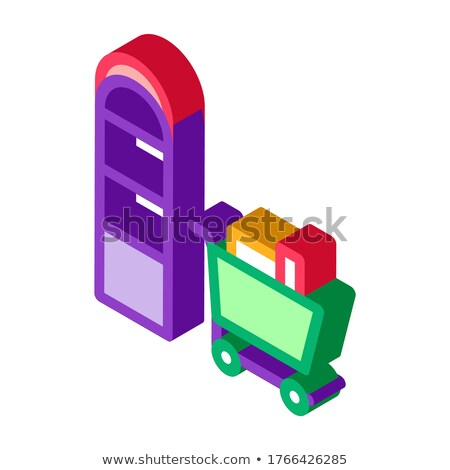 étel kosár izometrikus ikon vektor felirat Stock fotó © pikepicture