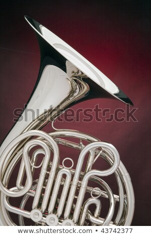 Silver French Horn Isolated On Red Stock fotó © mkm3