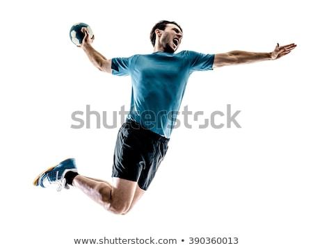 Hentbol oyuncu kadın kullanılmış top yalıtılmış Stok fotoğraf © grafvision
