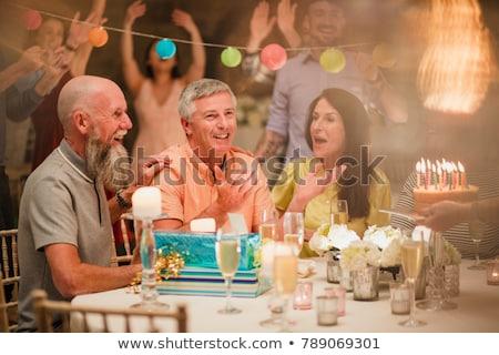 Сток-фото: друзей · еды · именинный · торт · ресторан · женщину · кофе