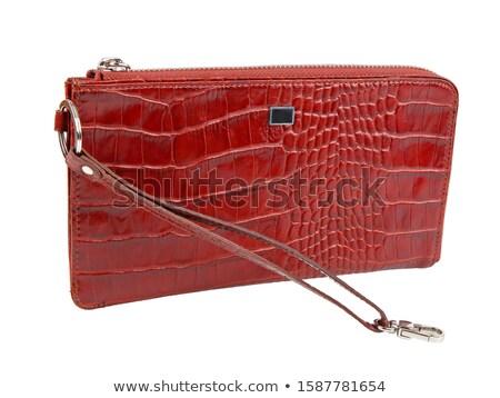 üres · piros · pénztárca · női · kezek · izolált - stock fotó © sweetcrisis