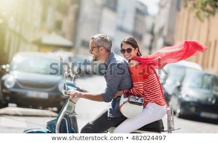 портрет · улыбаясь · верховая · езда · мотоцикле · вместе - Сток-фото © photography33