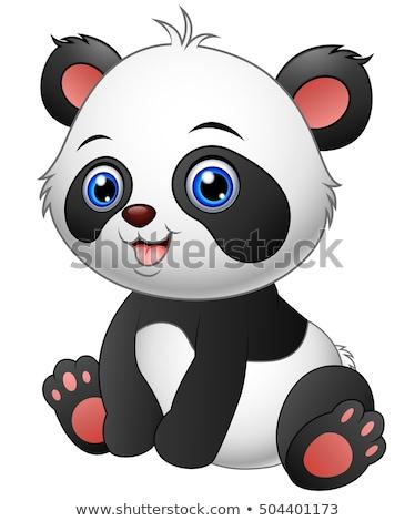 gelukkig · panda · glimlachend · bladeren · glimlach - stockfoto © dagadu