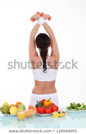здоровое · питание · таблице · женщину · назад · девушки - Сток-фото © photography33
