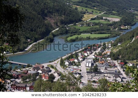landscape in norway with house in deep valley Stock photo © gewoldi