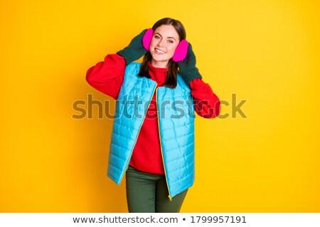 elegáns · nő · tél · fül · gyönyörű · nő · fülek - stock fotó © stryjek