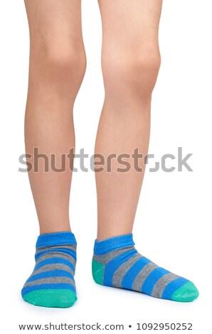 benen · lang · vrouwelijke · gestreept · sokken · geïsoleerd - stockfoto © alexandkz