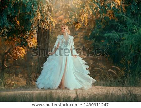 moda · mujer · posando · uno · pierna · atrás - foto stock © aikon