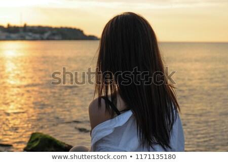 gyönyörű · barna · hajú · nő · portré · fehér · melltartó · fotó - stock fotó © PawelSierakowski