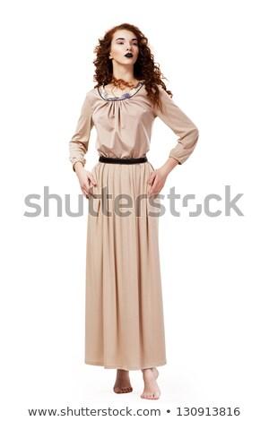 romantik · zarif · yalınayak · kadın · kahverengi · gömlek - stok fotoğraf © gromovataya