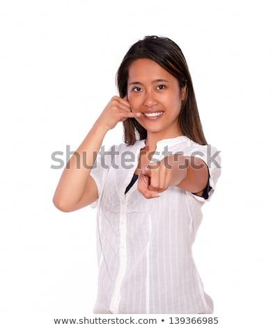 かなり 若い女性 ポインティング ことわざ 私を呼び出す ストックフォト © pablocalvog