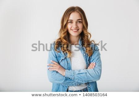 genç · moda · gülen · kız · model · poz - stok fotoğraf © pawelsierakowski