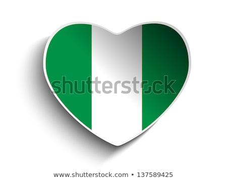 Nigeria · banderą · serca · przycisk · wektora - zdjęcia stock © gubh83