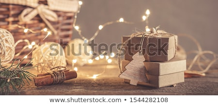 Tree Gift package on wooden background Stock photo © HASLOO