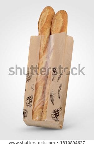 kettő · bagettek · saláta · szalámi · friss · étel - stock fotó © zzve