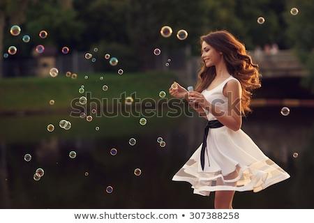 Fiatal barna hajú stílusos ruházat égbolt szemek Stock fotó © photography33