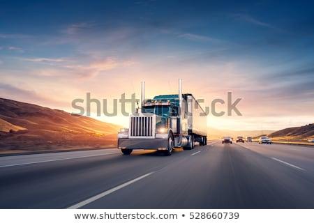 Nehéz teherautó naplemente építkezés új utak Stock fotó © CaptureLight