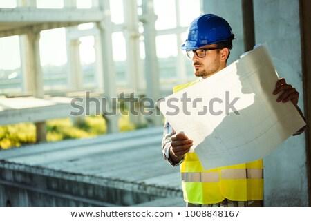 szakértelem · építész · mérnök · terv · néz · épület - stock fotó © lunamarina