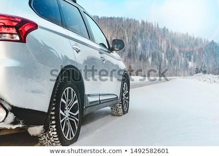 auto · rijden · landelijk · weg · beneden · Wyoming - stockfoto © iofoto
