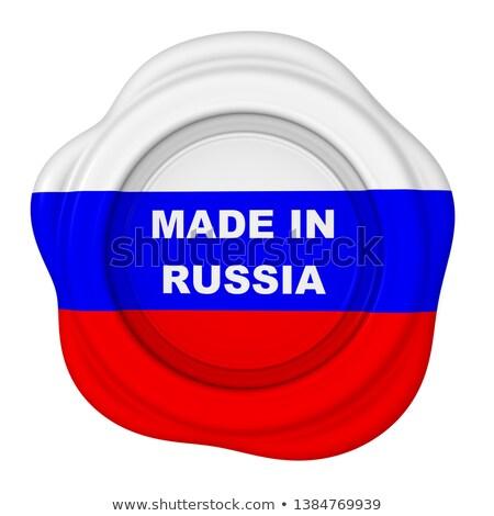 made in russia   stamp on red wax seal stock photo © tashatuvango