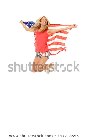 Zdjęcia stock: Kobieta · amerykańską · flagę · spodnie · kabaretki · shirt · czarny