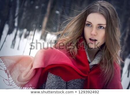 Nő piros kalap lovaglás ül ló Stock fotó © maros_b