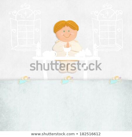 Pierwsza komunia zaproszenie blond chłopca ołtarz przestrzeni Zdjęcia stock © marimorena