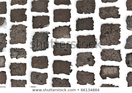 detail of cobble stone paveway in winter with snow Stock photo © meinzahn