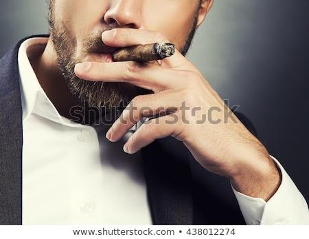 Portré férfi dohányzás szivar arc divat Stock fotó © Nejron