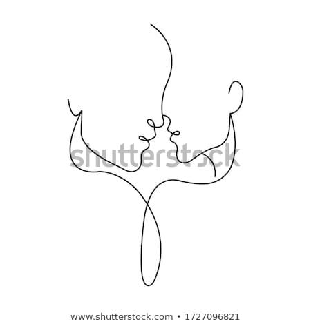Amantes silueta ilustración vector Foto stock © derocz