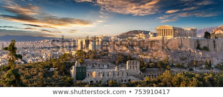 Foto stock: Acrópole · Atenas · Grécia · noite · edifício · pôr · do · sol