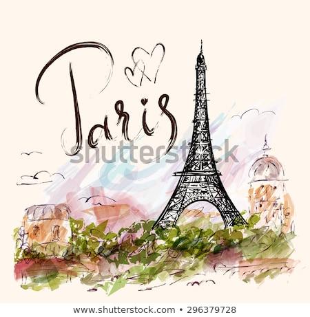 Foto stock: Torre · Eiffel · artístico · flores · edifício · pintar · viajar