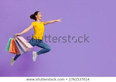 Meisje geld winkelen Rood zak jonge Stockfoto © sabelskaya