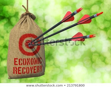 Stockfoto: Economisch · genezing · pijlen · target · drie · Rood