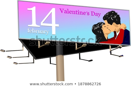 big billboard publicity over blue sky vector illustration stock photo © leonido
