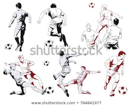 Piłkarz plakat sportu piłka nożna czarny Zdjęcia stock © leonido