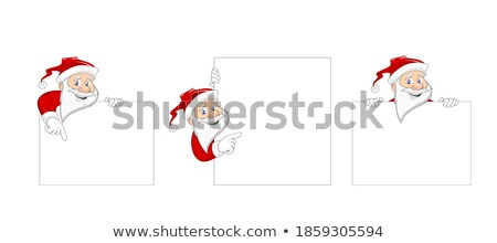 Set of Cartoon Santa Clauses Holding a White Empty Banners Stock photo © Voysla