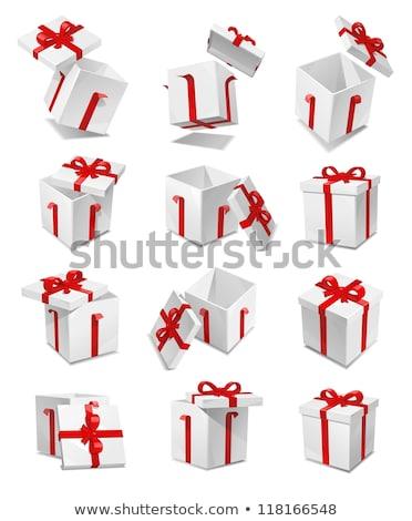três · natal · caixas · de · presente · isolado · branco · papel - foto stock © peterpolak