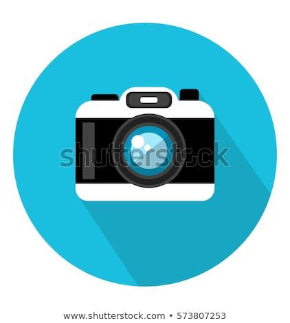 Camera icon blue color in vector stock photo © aliaksandra