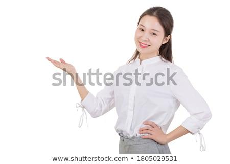 Glimlachende vrouw Open handen permanente vulkaan Stockfoto © Discovod