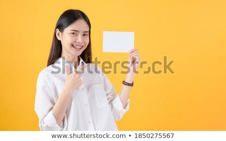 美少女 空っぽ カード 美しい ブロンド ストックフォト © aza