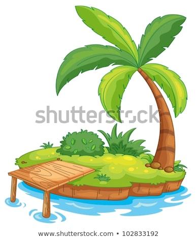 bridge with a desert island in background stock photo © aetb
