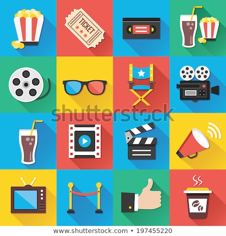 Movie camera flat app icon with long shadow Stock photo © Anna_leni